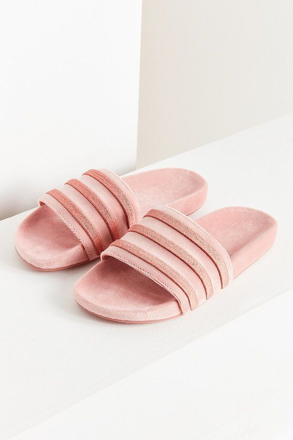 Adidas Originals adilette Velvet - tarjeta de color: Rosa