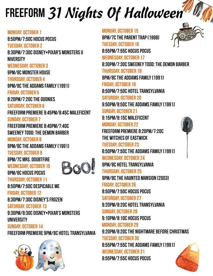 Freeform 13 Nights Of Halloween Schedule 2020 FreeForm 31 Nights Of Halloween Movie Schedule 2018 (Starts Oct. 1