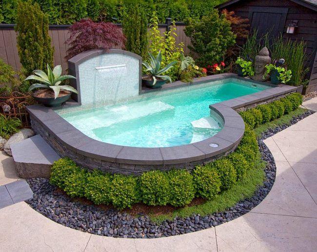 Schon Pool Kleinen Garten Brunnen Form Wasserfall Buchsbaum Deko