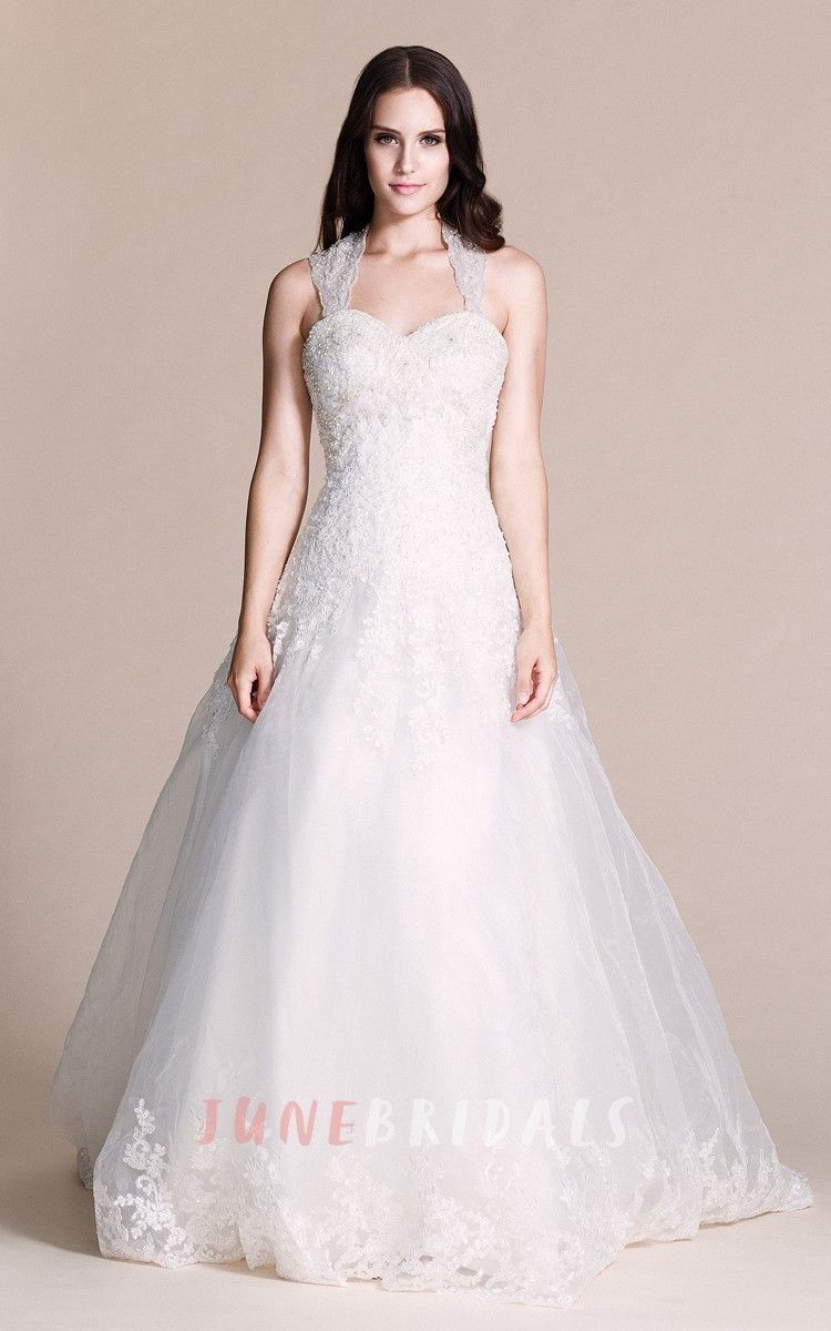 Sweetheart beaded lace halter ball gown products pinterest