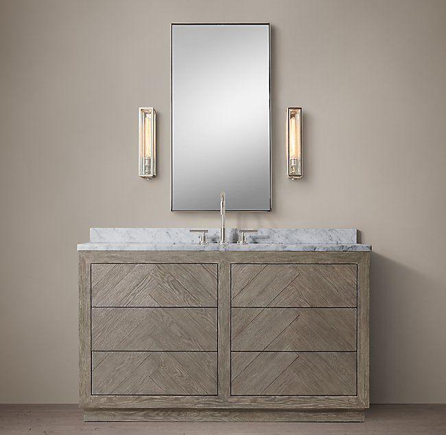 Herringbone Single Extra Wide Vanity Vanity Bathroom Furniture
