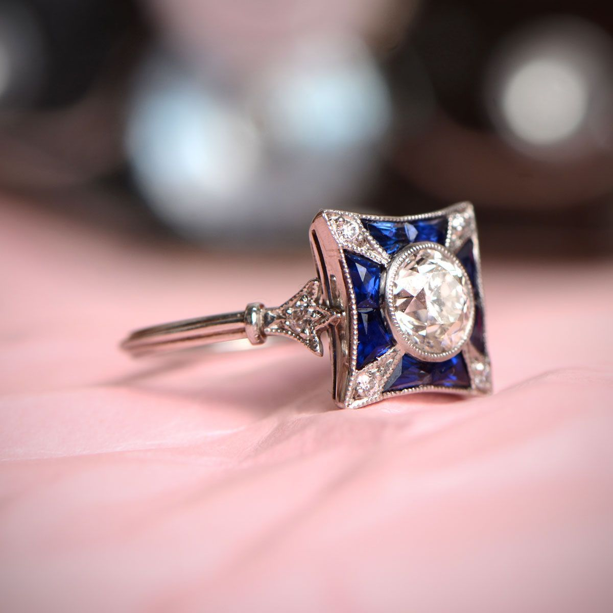 Art Deco Style Ring in Platinum | Pinterest | Sapphire engagement ...