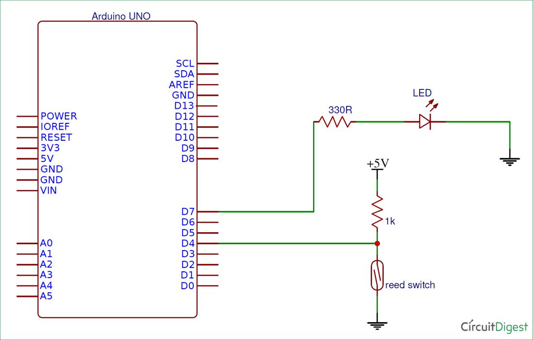 Reed Switch Interfacing With Arduino Arduino Interfacing Circuit Diagram