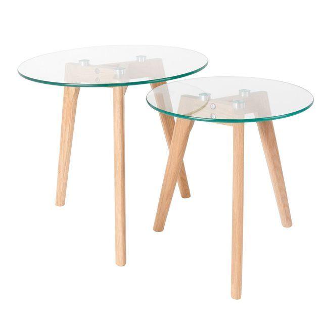 2 Tables Basses Scandinaves Verre Et Chene Bror Table Basse Scandinave Table Basse Table Basse Ronde