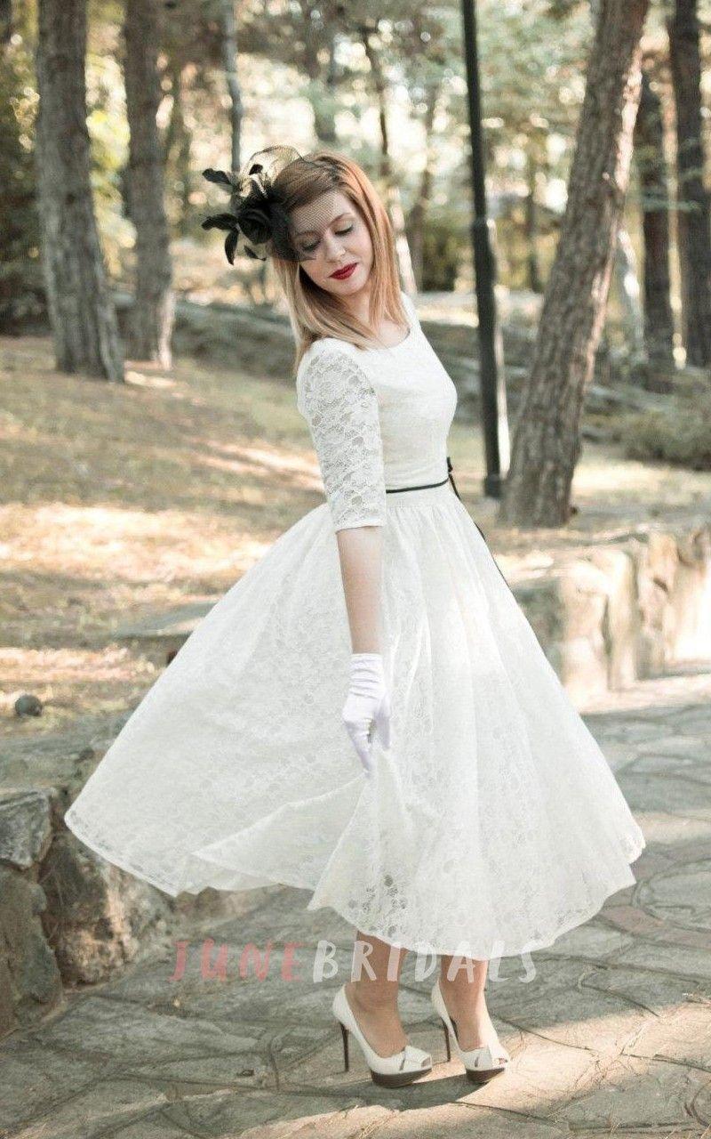 50s wedding dress lace  Jewel TeaLength Lace Wedding Dress With Sash And Half Illusion