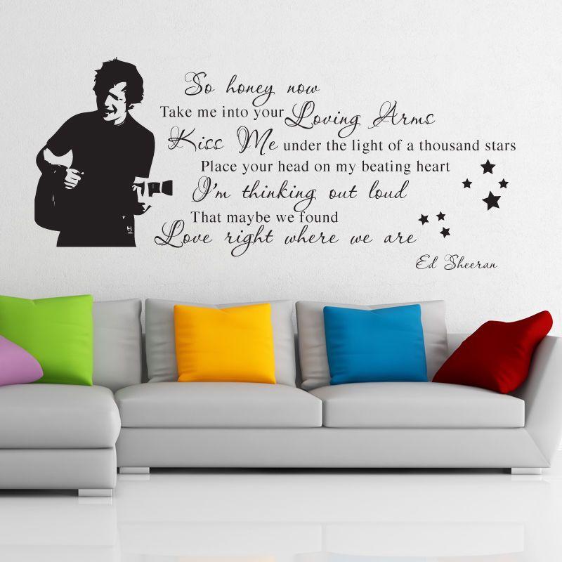 ed sheeran wall art sticker thinking out loud decal music lyric