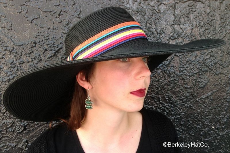 Women s Wide Brim Sun Hat Black with Multi-Color Band  3b2a543f778