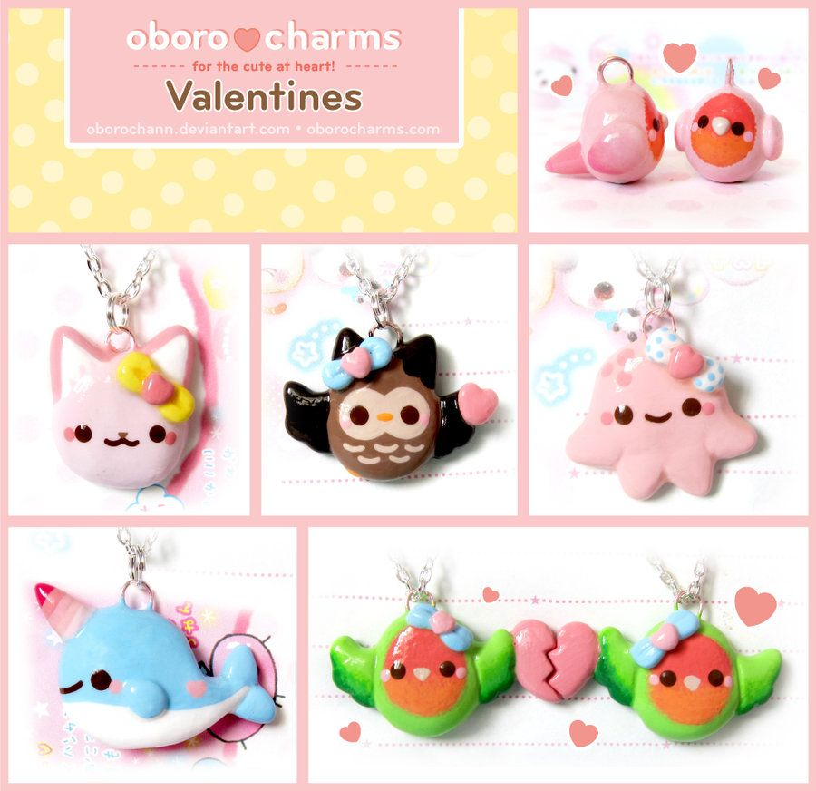 Valentines Day Necklaces by Oborochann.deviantart.com on @deviantART