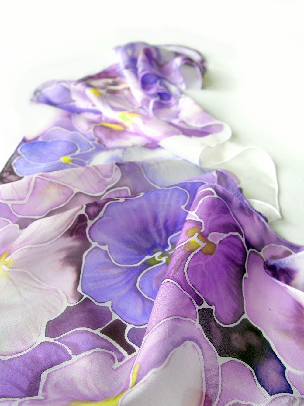 Purple Flower Bird Scarf Mauve Lilac Birds Scarves Wrap Shawl Floral Blossom New