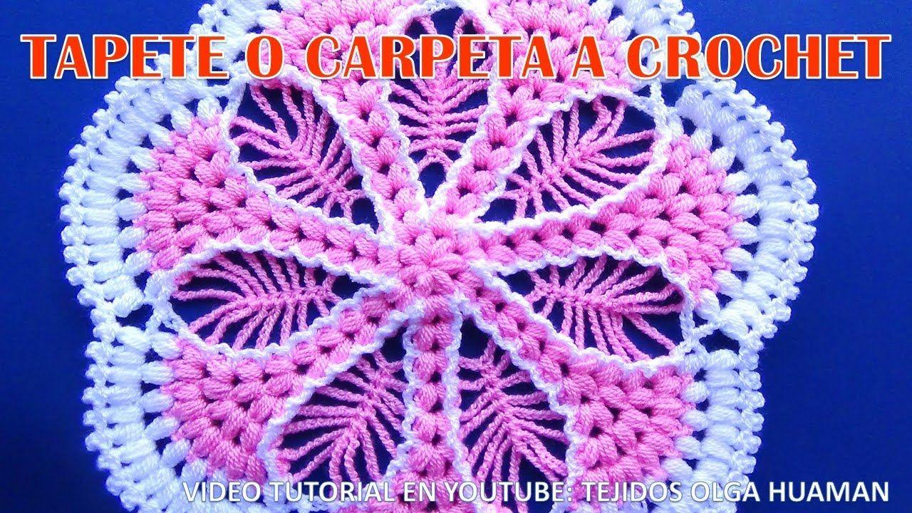 Tapete O Carpeta A Crochet Paso A Paso Con Puntos Garbanzos O Puff  -> Tapetes Para Sala Tejidos A Crochet
