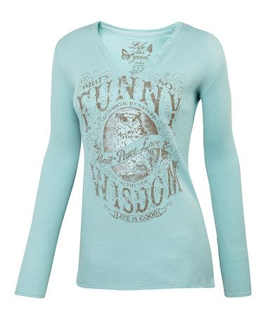 Take a look at this Tide Blue 'What's Funny' Waffle Long-Sleeve Tee - Women by Life is good® on #zulily today!