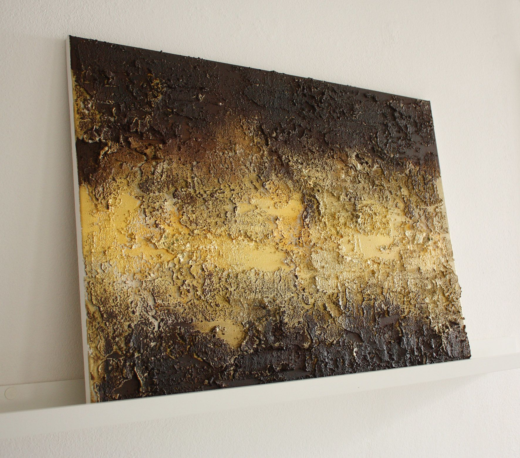 Abstract Materic Painting Stucco And Acrylic Colours On Canvas, With