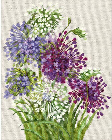 Riolis Scottish Heather Flowers Cross Stitch Kit Cross Stitch Flowers Cross Stitch Kits Brazilian Embroidery