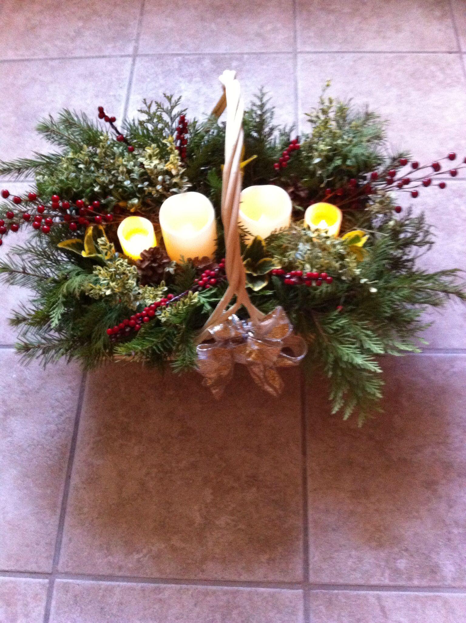 Window well decor  basket of fresh greens  christmas decorating ideas  pinterest