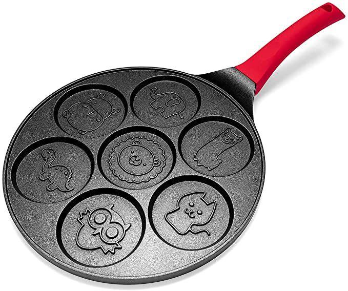 Pancake Maker - Non-stick Pancake Pan Griddle 10 Inch Grill Pan Mini Crepe Maker 7-Mold Pancakes with Silicon Handle, Black Animal