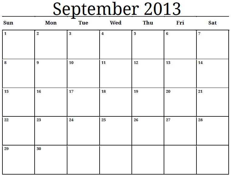 September 2013 Monthly Calendar Photo Projects to Try - monthly calendar