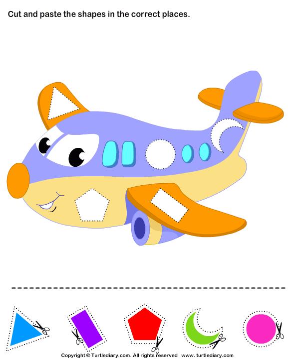 Cut and Paste Airplane | Shapes | Pinterest | Kindergarten art ...