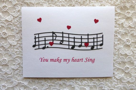 Valentines Day Handmade Card Music Notes With Sentiment You Make My Heart Sing