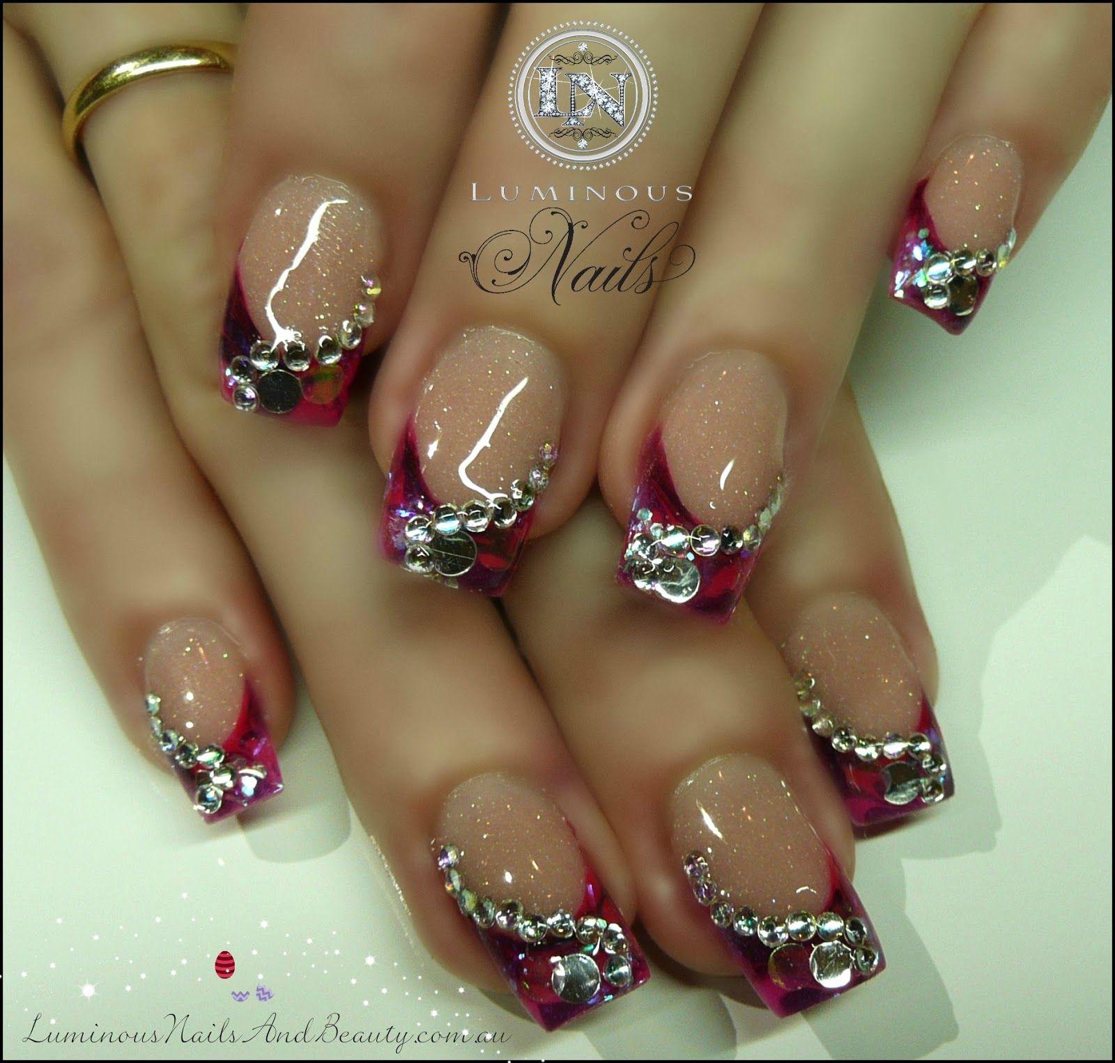 purple nail designs acrylic nails | Hot Pink & Purple Gel Marbleized ...