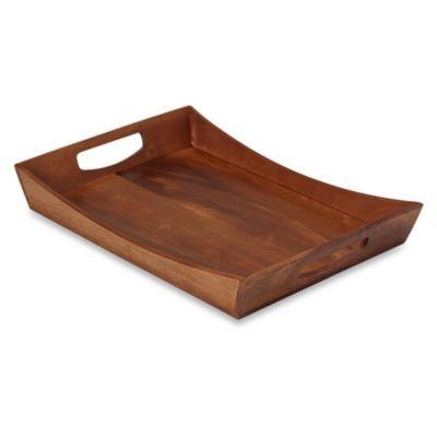 B Smith 20 Inch Wood Tray Bedbathandbeyond Com Wood Tray