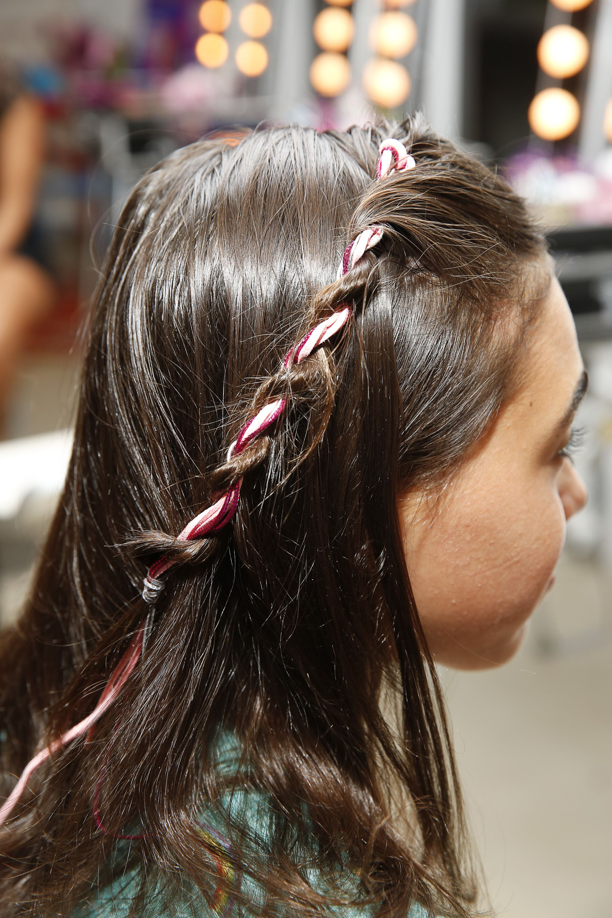 Twisty braids with Sparkle and Shine Quick Twist™ ribbon accessories
