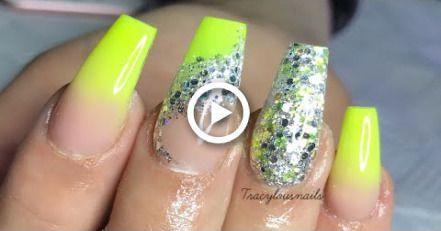 GELB OMBR | GLITTER | ACRYLNÄGEL #nails #sunflowernails