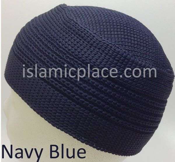 Navy Blue - Elastic Knitted Indonesian Solid Kufi (original style)