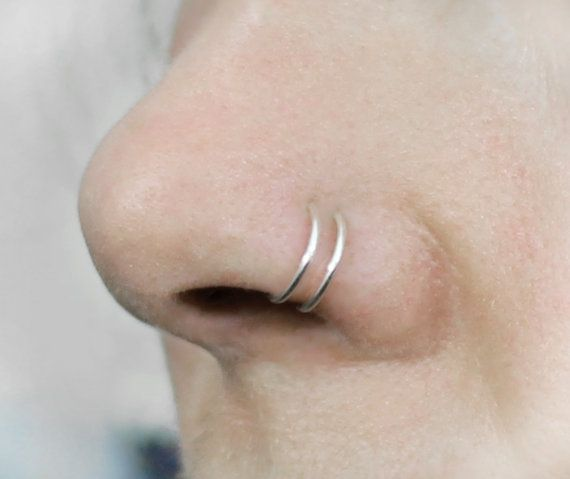Double Nose ring, Sterling Silver, Rose or Yellow Gold, Argentium Silver, 16, 18 20 or 21 Gauge, Pink Gold, Fake nose ring, fake piercing #doublenosepiercing