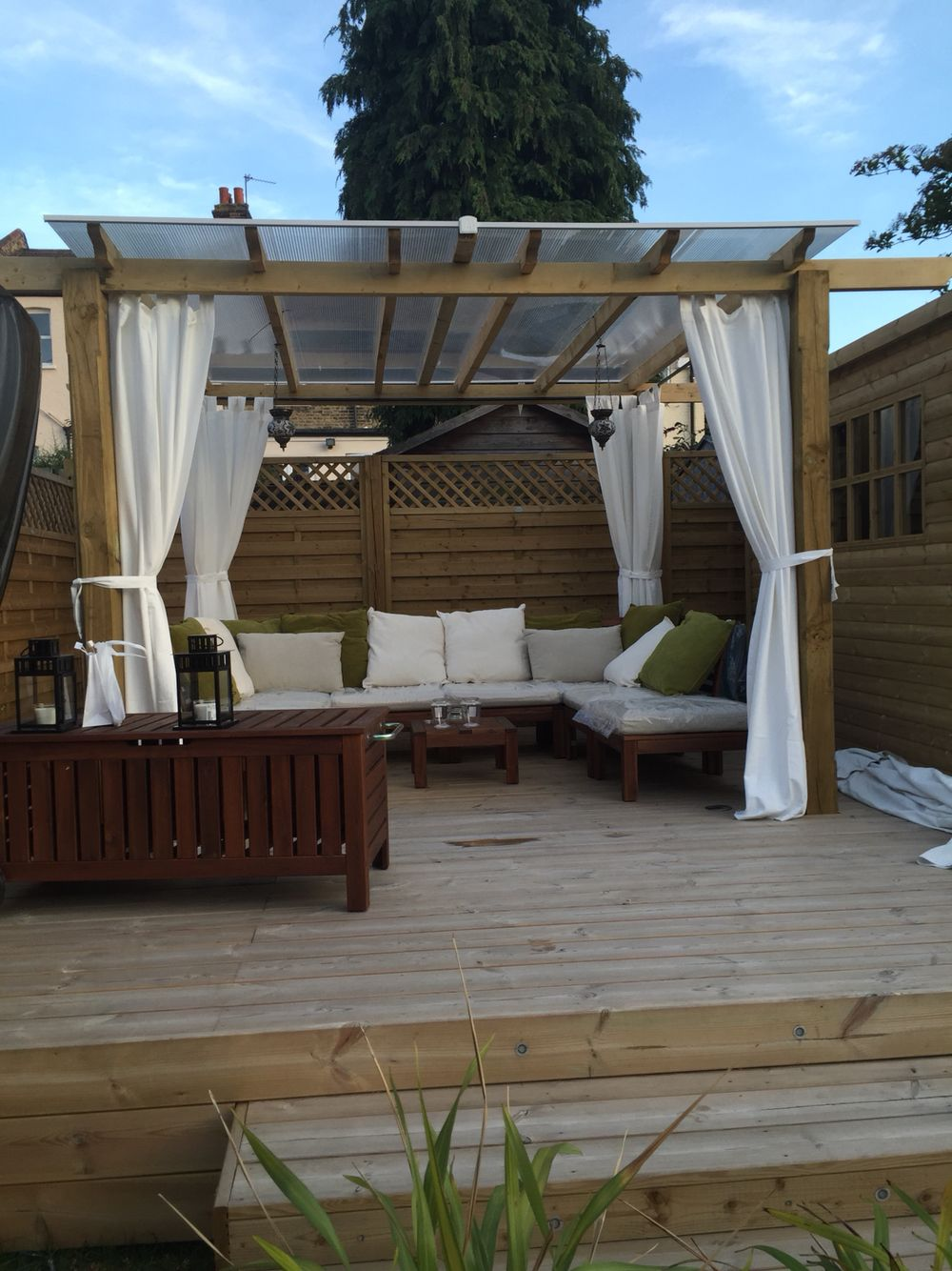 Pergola curtains outdoor - Pergola With Curtains Poles And Curtains From Ikea