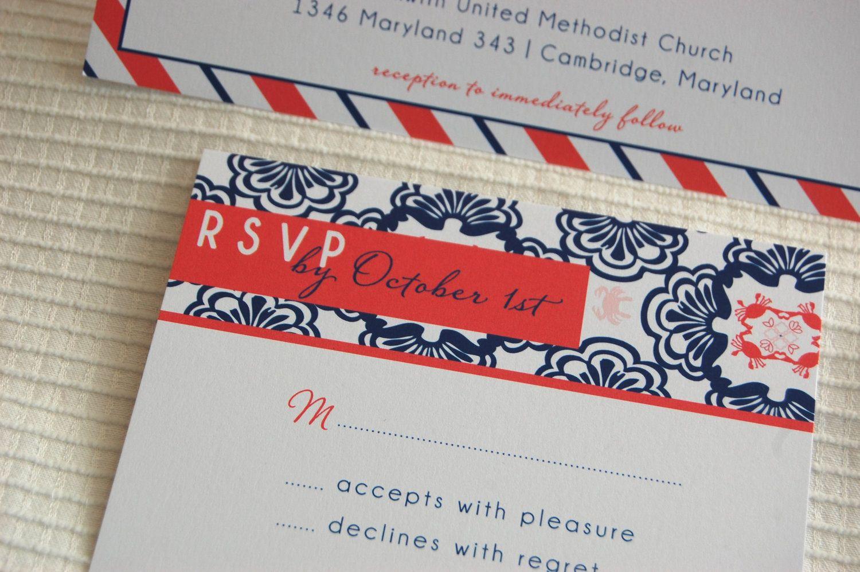 Crab Love Stripe Wedding Invitation Suite - Get Started Listing ...