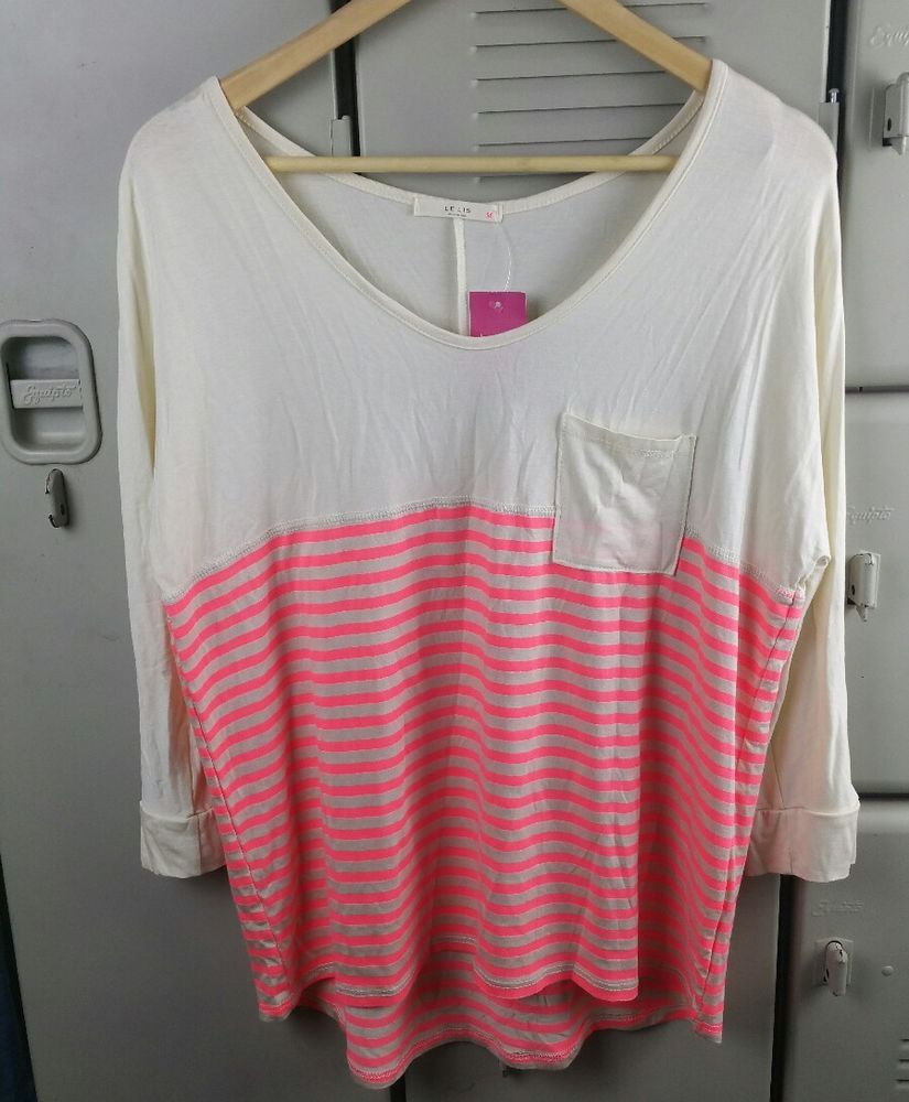 20b39ea3cad5 New Le Lis Large Mixed Print Soft Knit Top Stripe Cream and Neon Pink BoxB   LeLis  KnitTop  Any