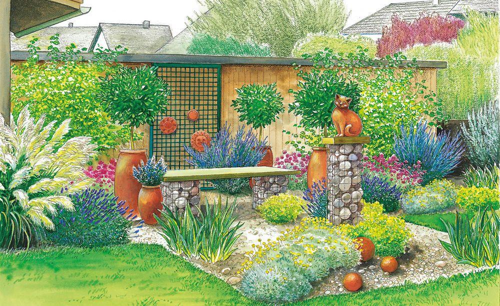 1 Garten 2 Ideen Gemutlicher Sitzplatz Mit Sichtschutz Cottage Garten Design Garten Gartendesign Ideen
