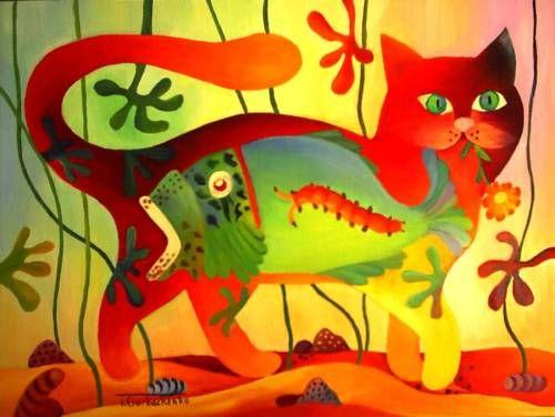 tomcat - Schilderij,  40x30 cm ©2010 door Tetiana Gorbachenko -                            Expressionisme, paintings