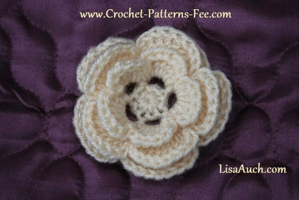 EASY Free Crochet Flower Pattern Pretty 3 layer Crochet Flower ...