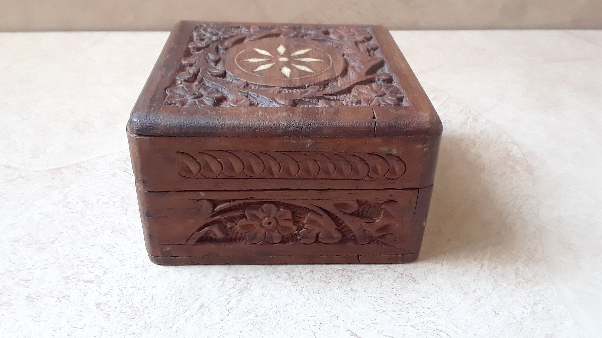 Vintage Small Wooden Box Jewelry Trinket Hand Carved Wood Inlay