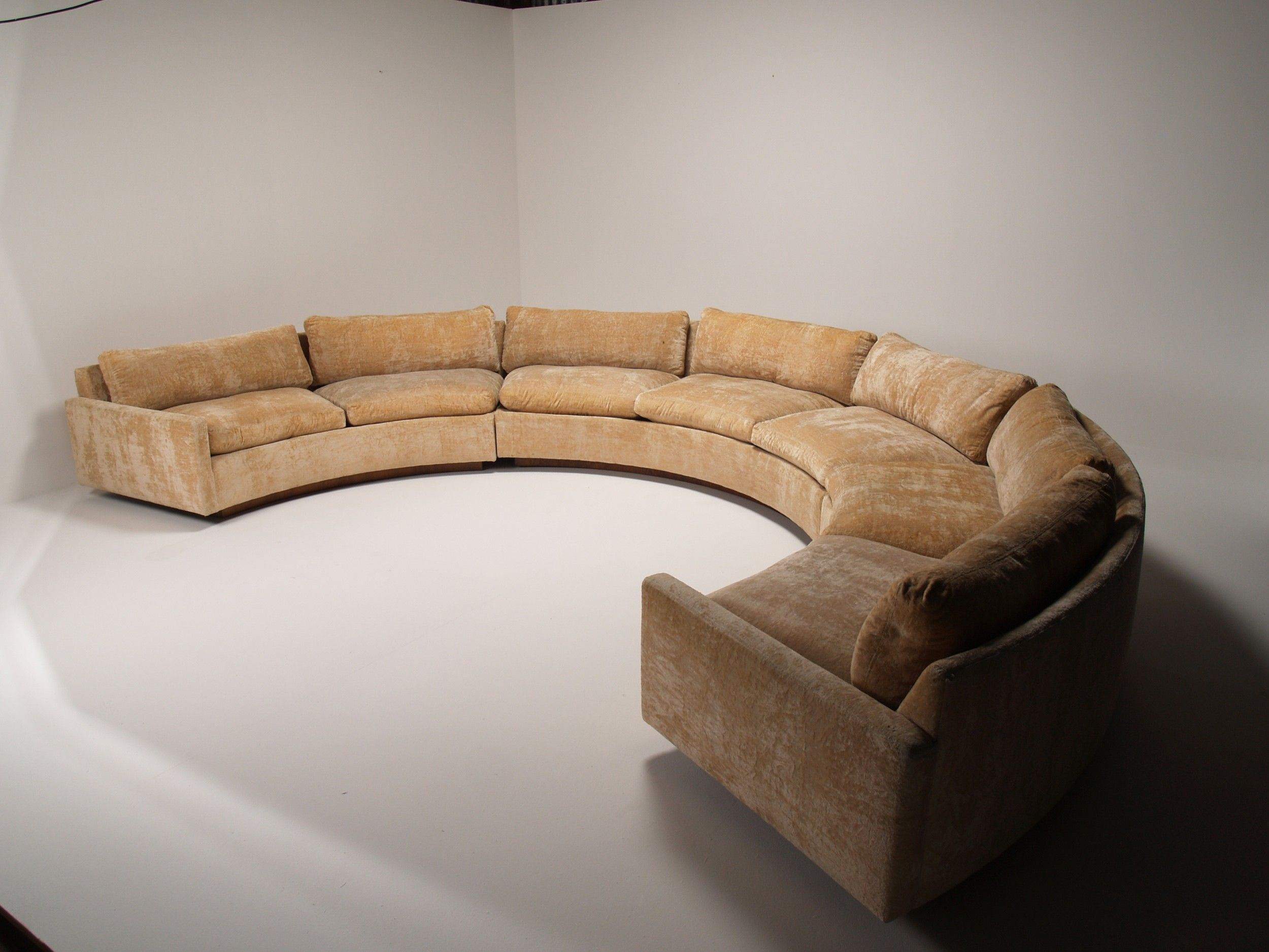 Popular Grey Velvet Curved Couch Without Cushions As Well As In White Wall  Painted Color Interior And White Flooring As Inspiring Waiting Room  Furnishing ...