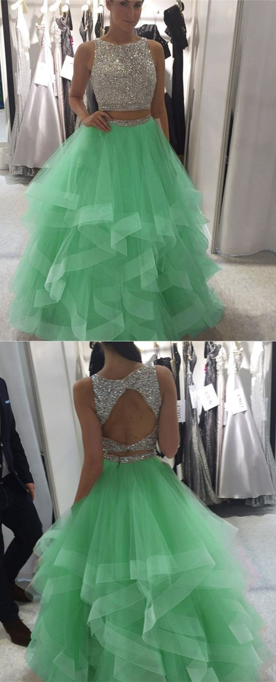 mint green prom dress,ball gowns prom dress,two piece prom dress ...