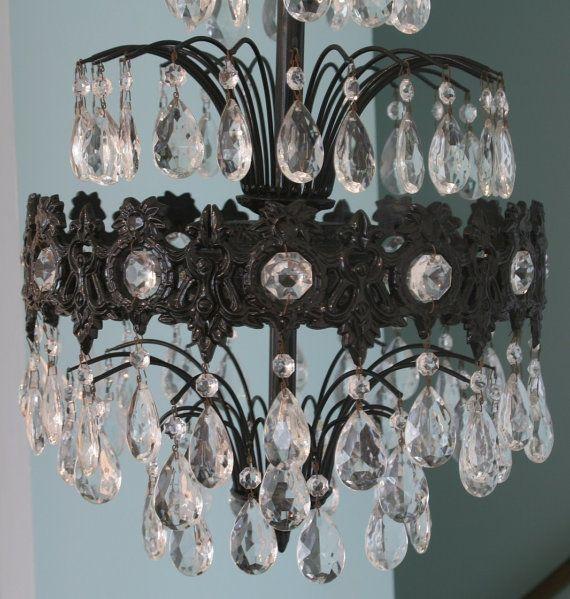 Vintage crystal chandelier waterfall art deco black art for Waterfall design etsy
