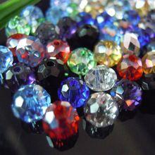 Colores mezclados 4 * 6 mm 50 unids Rondelle cristalino de Austria cristalina tallada cuentas de vidrio suelta perlas Spacer ronda para la fabricación de joyas(China (Mainland))