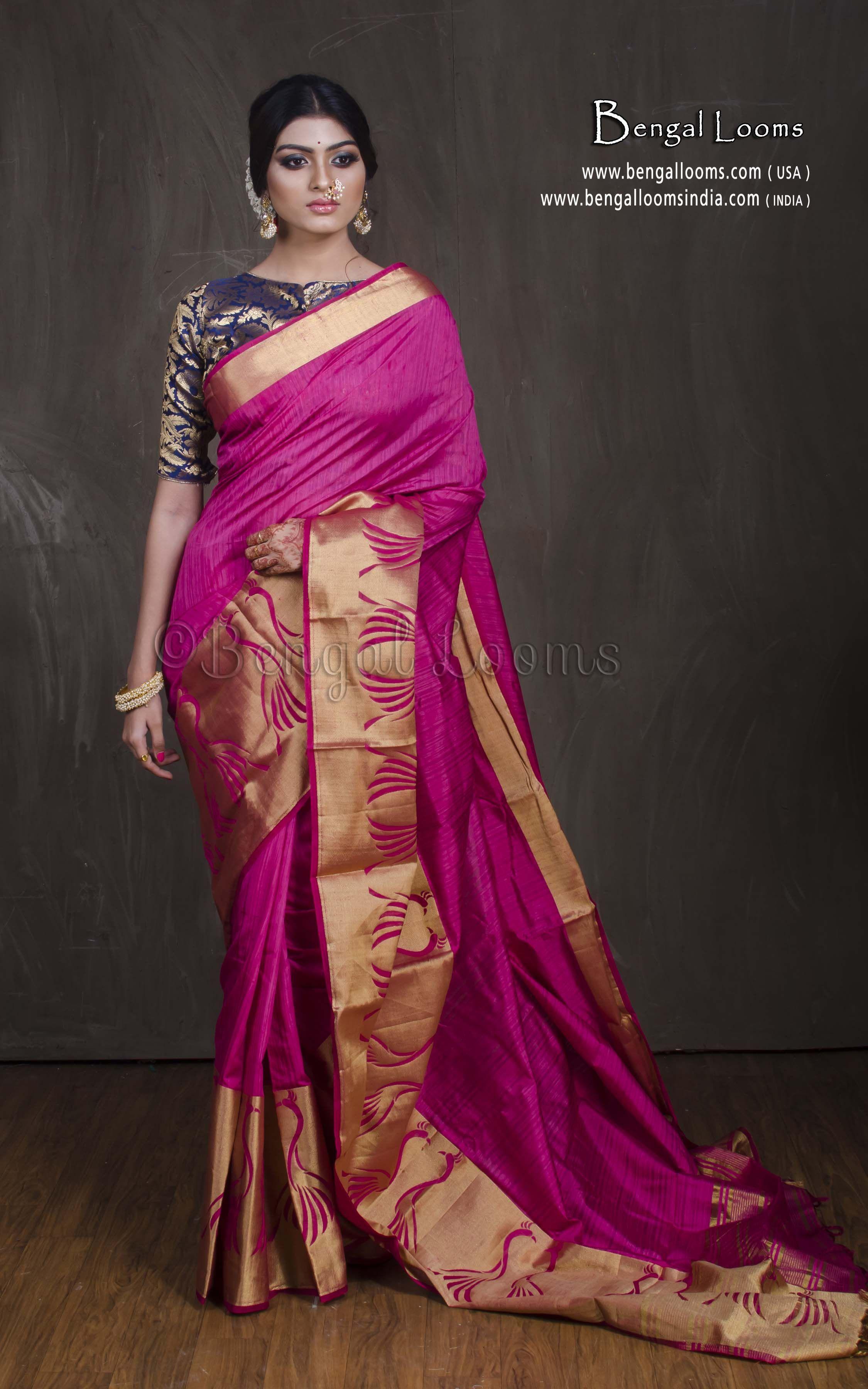 82e3ce27bcc Art Silk Kanjivaram Saree in Hot Pink and Gold. Website  -  www.bengalloomsindia.com