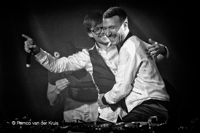 Dutch radio celebrity Giel Beelen together with Don Diablo for a fundraising action called Serious Request at Patronaat, Haarlem, The Netherlands