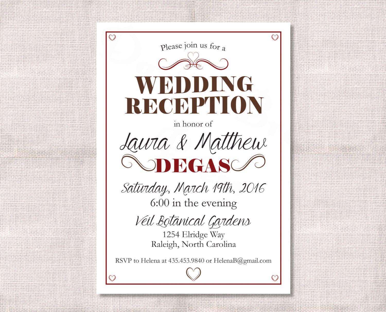 Wedding Reception, Celebration, After Party Invitation Custom Printable 5x7 by DarlinBrandoPress on Etsy https://www.etsy.com/listing/207940792/wedding-reception-celebration-after
