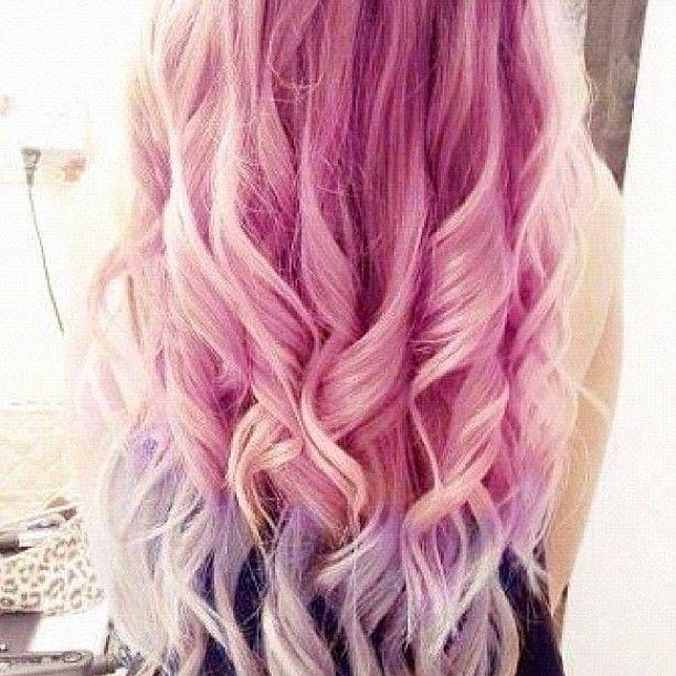 Hairandnailfashion Hair Fashion Style Girl Pretty Beautiful Pink Purple Curls Ombre Hairandnailfashio Thick Hair Styles Tumblr Hair Hair Styles