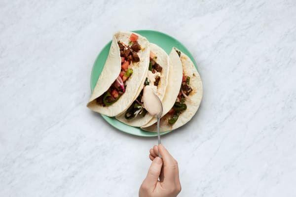Sirloin Carne Asada Tacos with Southwest Crema and Pickled Shallot Salsa #asadatacos Carne Asada Tacos Recipe   HelloFresh #asadatacos