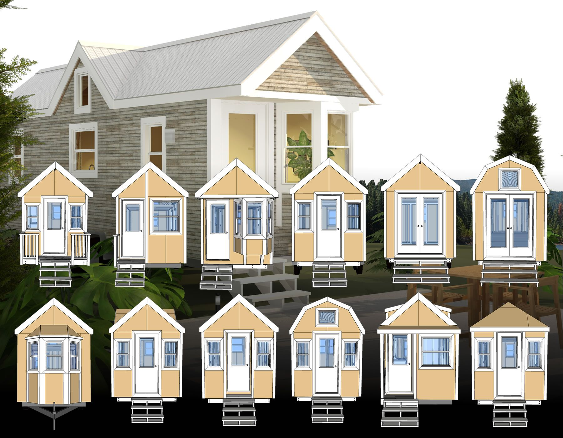 All twelve of these tiny house plans are designed with the same basic dimensions so
