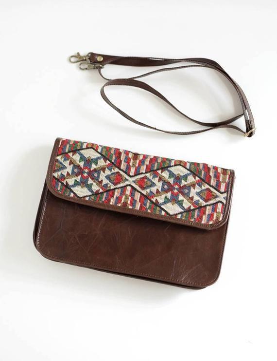 85d51905d2f SALE bags, brown leather clutch bag, tribal print bag, geometric fabric  purse, leather wristlet clut