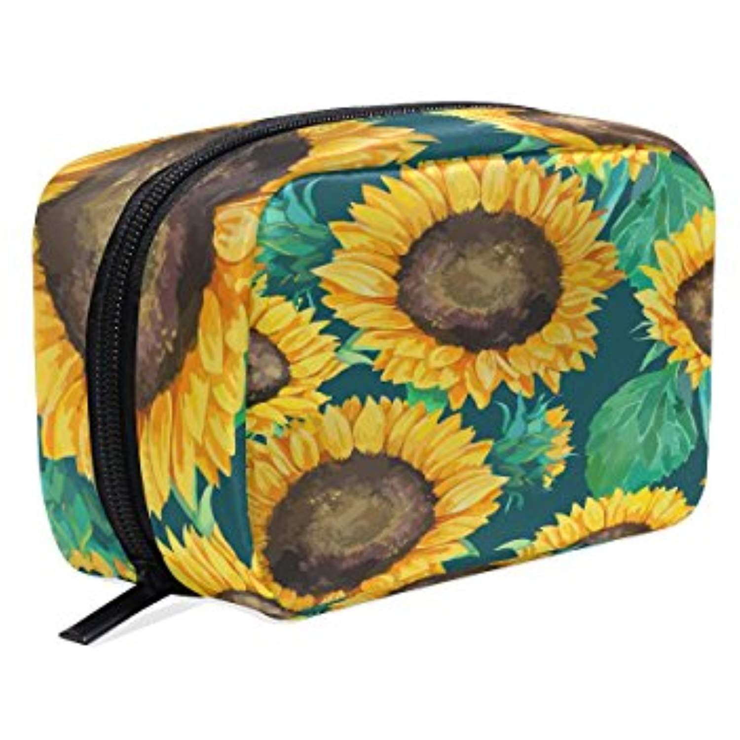 401330642fd0 Sunflowers With Green Leaves Cosmetic Bag Black Zipper Storage Bag ...