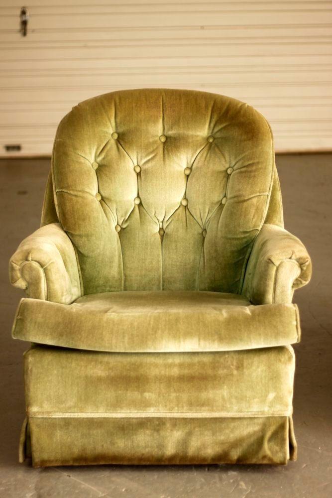 Tufted Back Mint Green Velvet Vintage Swiveling Rocker 325 00 Via Etsy