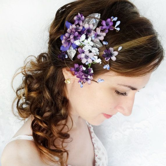 Smaller flowers but possible idea for hair  lilac purple flower hair clip  bridal hair by thehoneycomb on Etsy b2c118bfd720