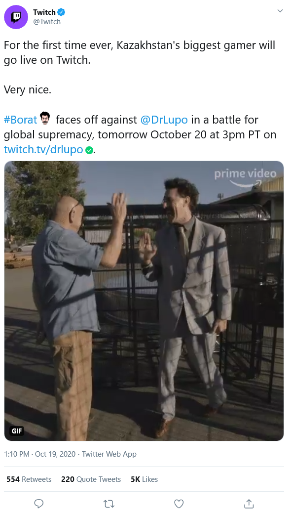 Borat To Stream On Twitch With Drlupo In A Battle For Global Supremacy Twitch Streaming Battle